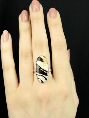 SIZE 7 - Sterling Silver Peanut Wood Jasper Ring - RIG7112