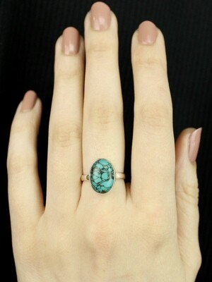 SIZE 7 - Sterling Silver Tibetan Turquoise Oval Ring - RIG7122