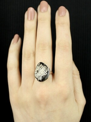 SIZE 7 - Sterling Silver Shungite Ring - RIG7116