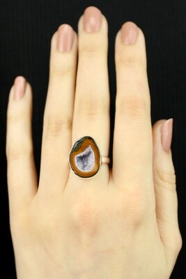 SIZE 7 - Sterling Silver Coconut Geode Ring - RIG7115