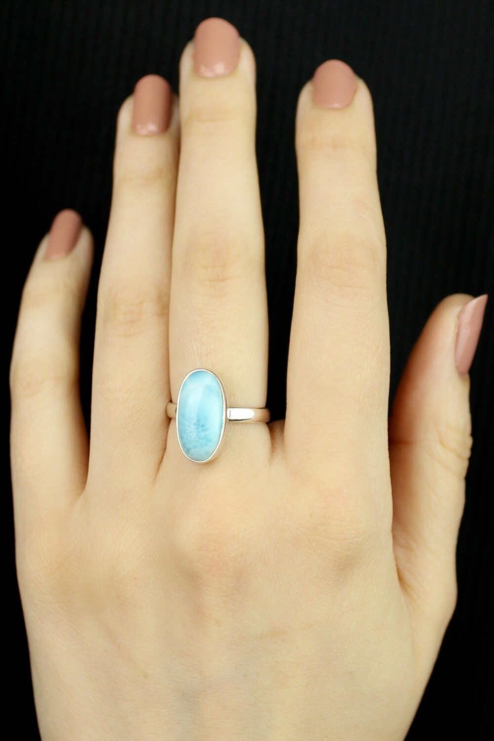 SIZE 7 - Sterling Silver Larimar Oval Ring - RIG7121