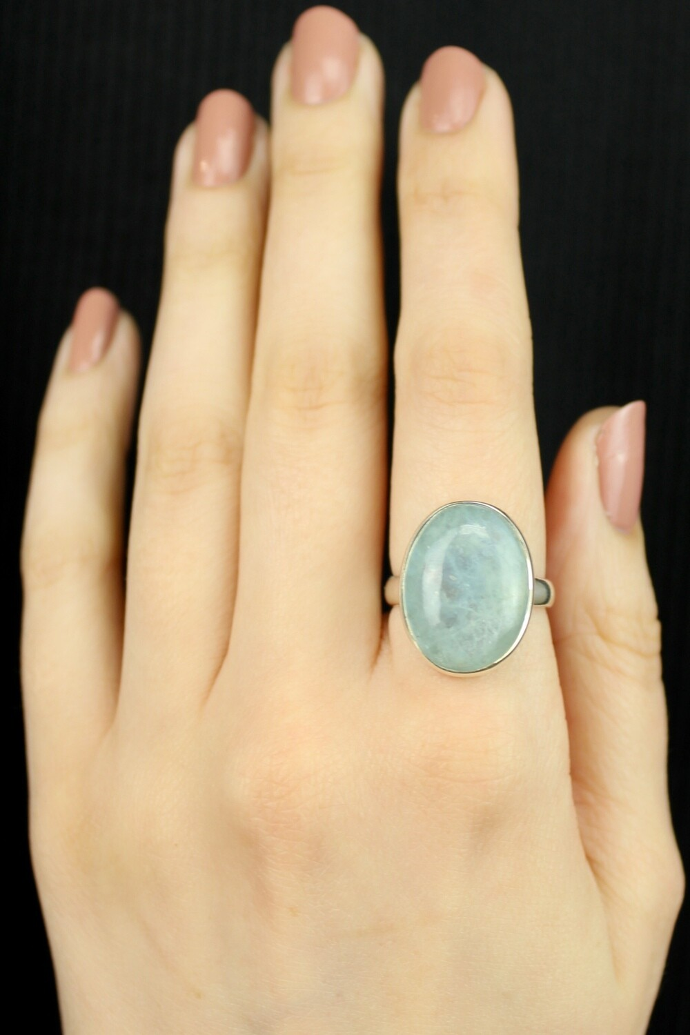 SIZE 8 - Sterling Silver Aquamarine Oval Ring - RIG8104