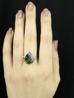 SIZE 7.25 - Sterling Silver Chrome Diopside Ring - RIG7124