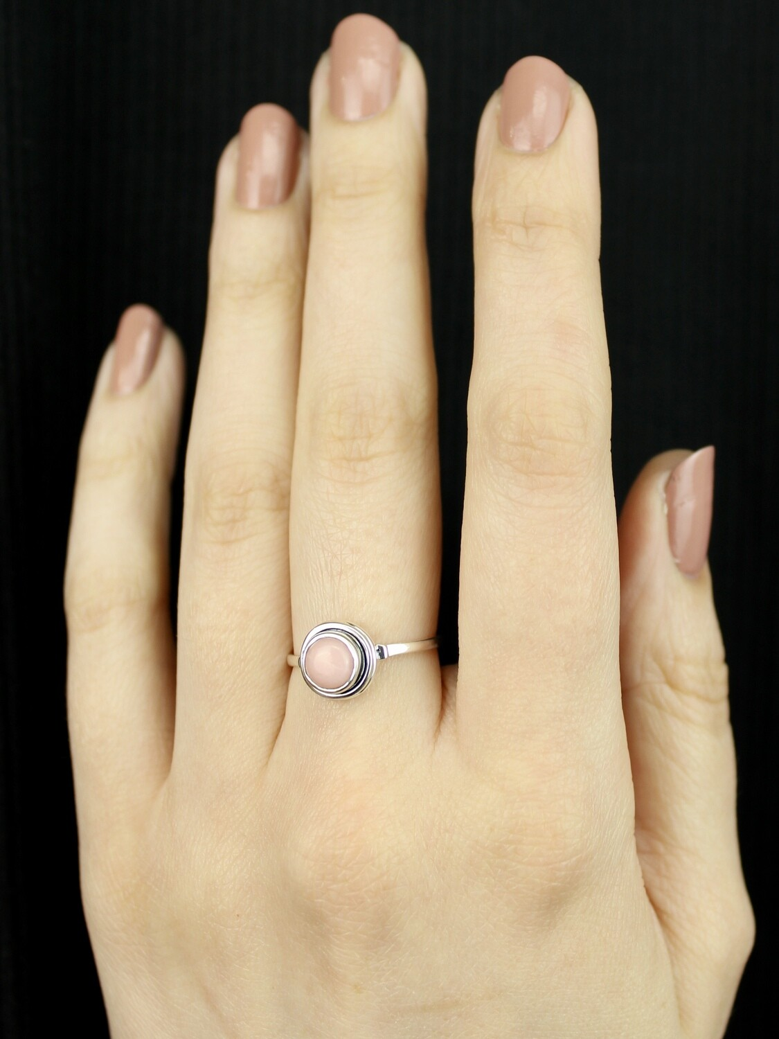 SIZE 7 - Sterling Silver Little Round Peruvian Opal Ring - RIG7123