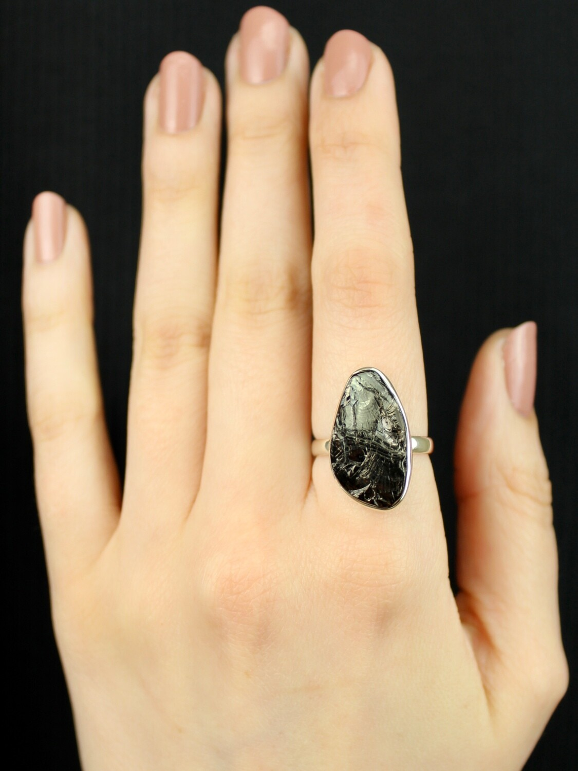 SIZE 8 - Sterling Silver Shungite Ring - RIG8110