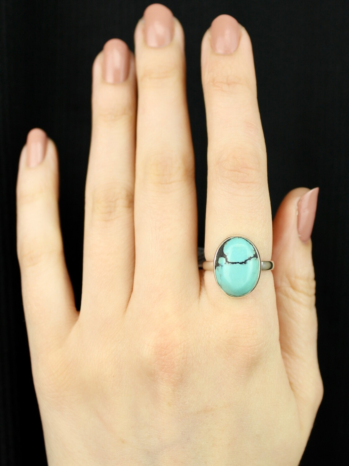 SIZE 8 - Sterling Silver Tibetan Turquoise Ring - RIG8112