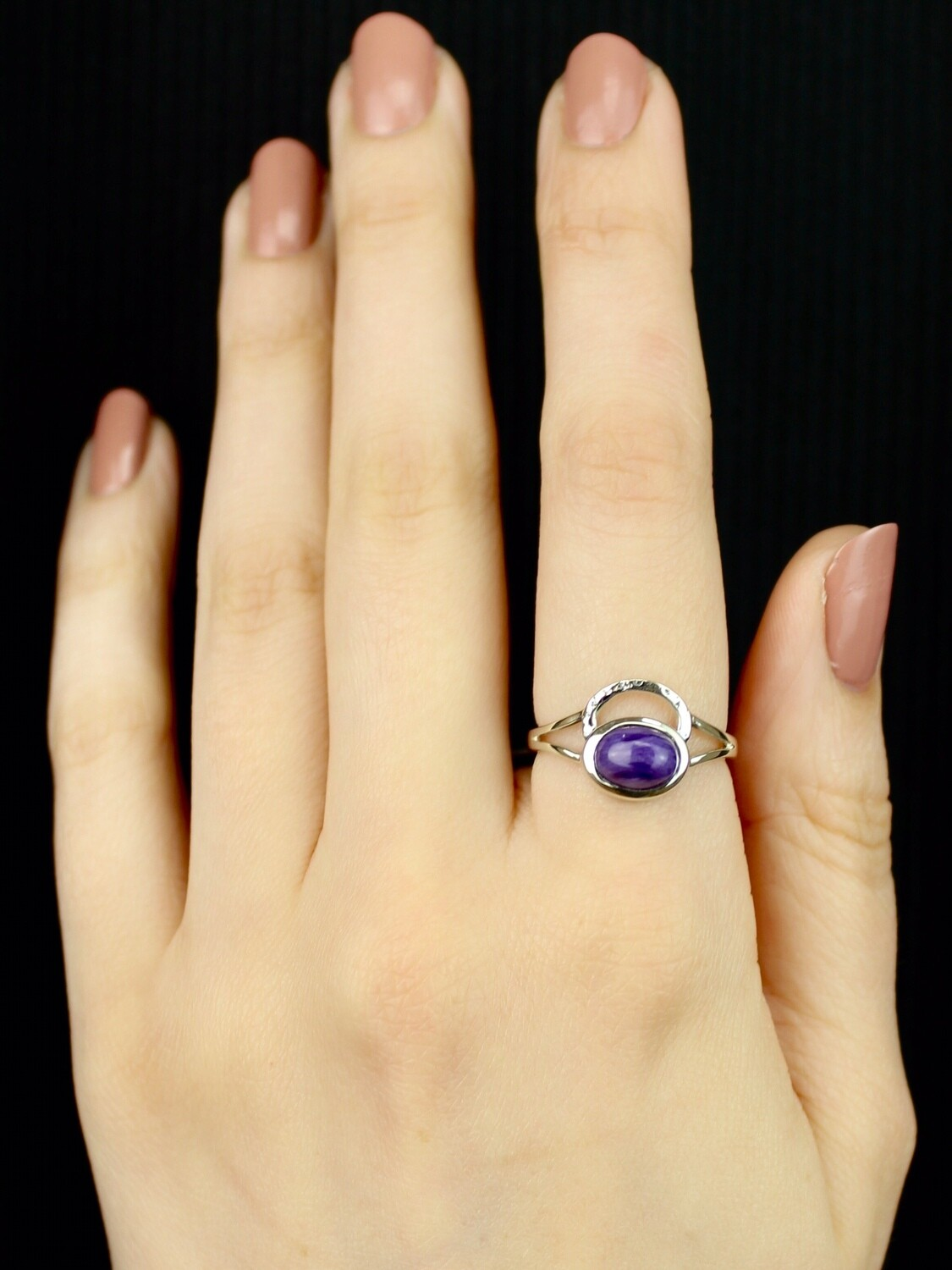 SIZE 8 - Sterling Silver Oval Charoite Ring - RIG8114