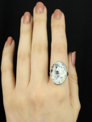 SIZE 8 - Sterling Silver Dendritic Agate Oval Ring - RIG8103