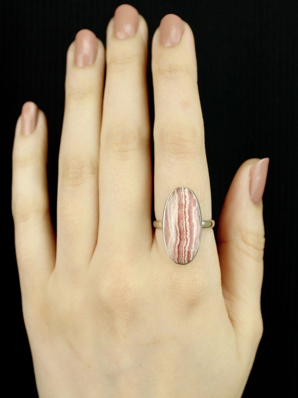 SIZE 8.75 - Sterling Silver Rhodochrosite Oval Ring - RIG8105