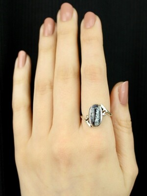 SIZE 8 - Sterling Silver Oval Dendritic Agate Ring - RIG8116