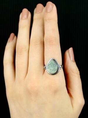 SIZE 8 - Sterling Silver Raw Aquamarine Ring - RIG8111