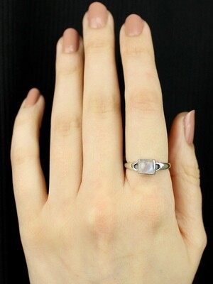 SIZE 8 - Sterling Silver Square Rainbow Moonstone Ring - RIG8118