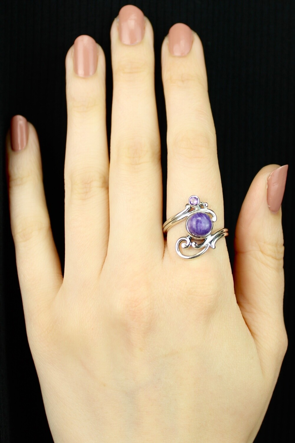 SIZE 9 - Sterling Silver Charoite & Amethyst Ring - RIG9116