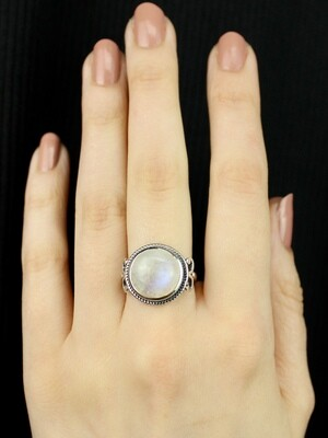 SIZE 7 - Sterling Silver Rainbow Moonstone Ring - RIG7125