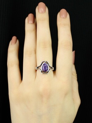 SIZE 7 - Sterling Silver Charoite Ring - RIG7126