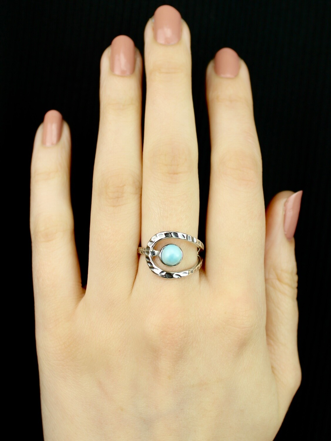 SIZE 7.75 -Sterling Silver Larimar Ring - RIG7128