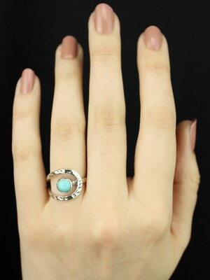 SIZE 6.25 - Sterling Silver Mexican Turquoise Ring - RIG6107