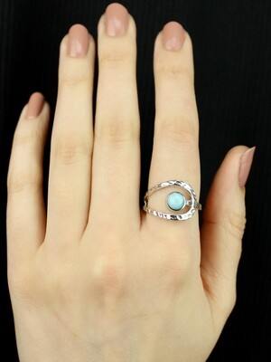 SIZE 9 - Sterling Silver Larimar Ring - RIG9118