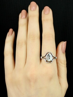 SIZE 8 - Sterling Silver Dendritic Agate Ring - RIG8121