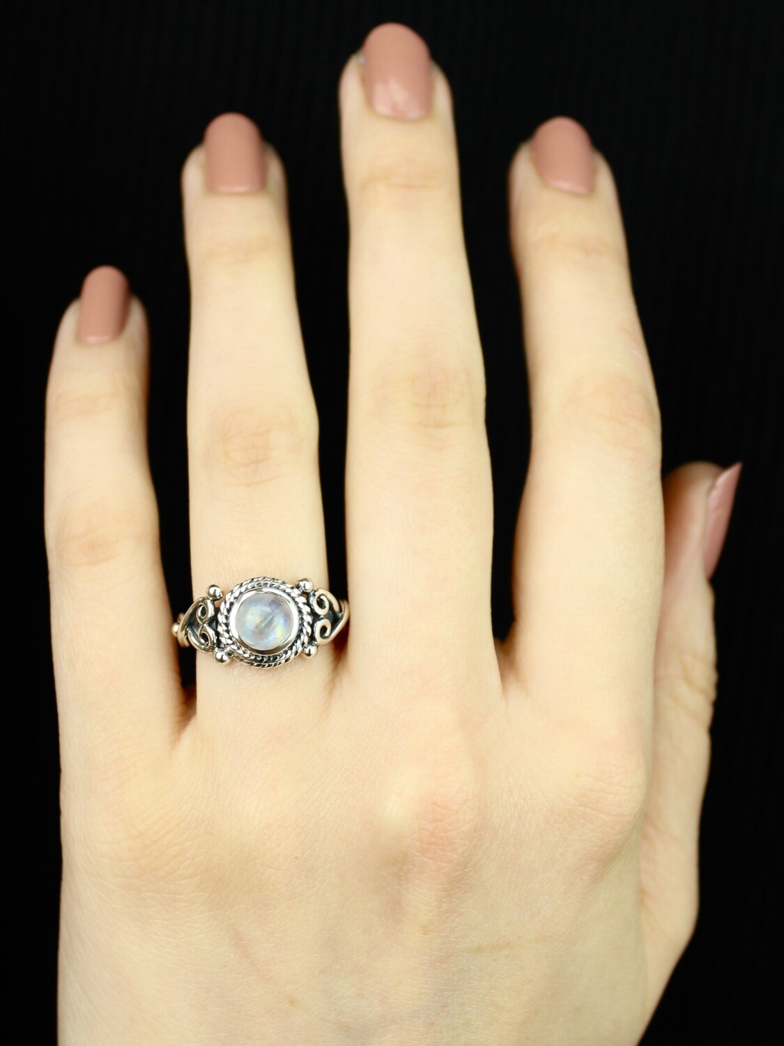 SIZE 6 - Sterling Silver Rainbow Moonstone Ring - RIG6106