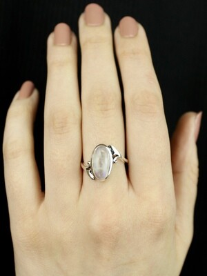 SIZE 7 - Sterling Silver Oval Rainbow Moonstone Ring- RIG7119