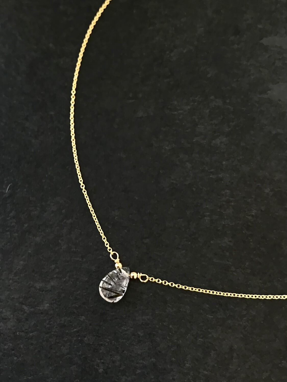 Tourmalated Quartz Athena Necklace - GDFDBN2 - TQZ
