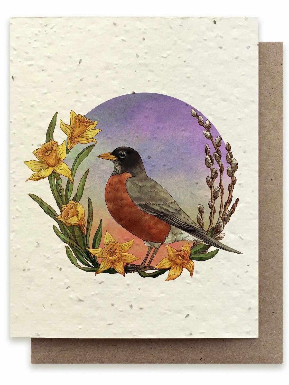 Spring Robin Greeting Card - Plantable Wildflower Card - BC109