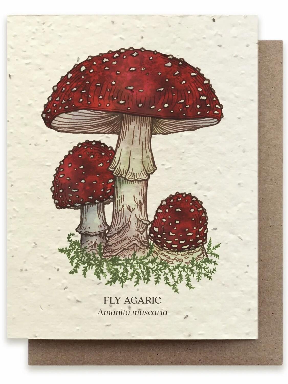 Fly Agaric Mushroom Greeting Card - Plantable Wildflower Seed Card - BC103