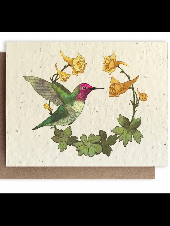 Hummingbird and Larkspur Greeting Card- Plantable Wildflower Seed Card - BC105