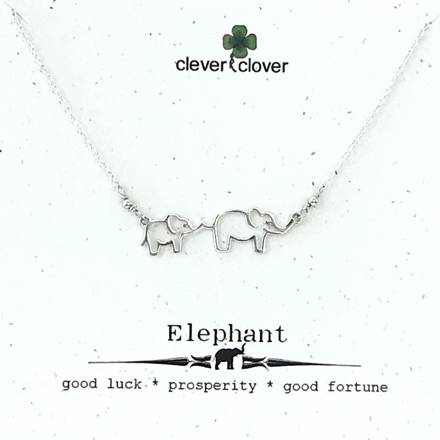 Elephant Mom + Baby Outline Necklace - FEST4028