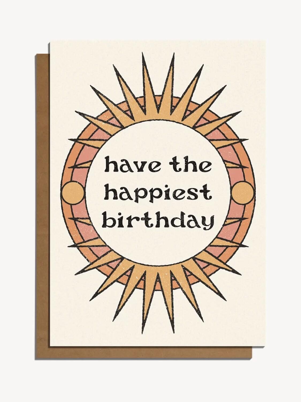 Happiest Birthday -Sun Design - Greeting Card - CJ2