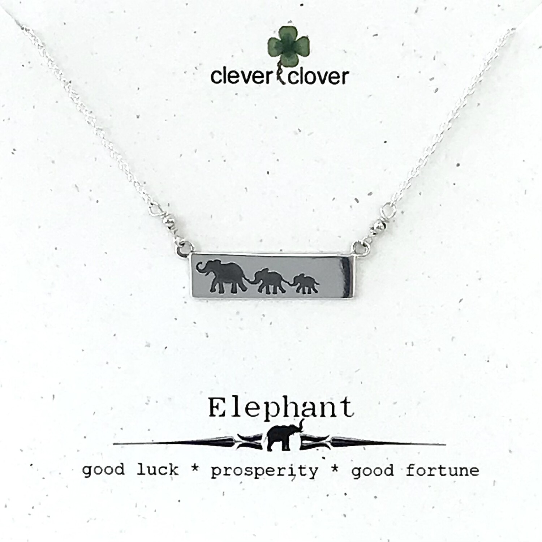 Mama Elephant + 2 Babies Bar Necklace - FEST1876