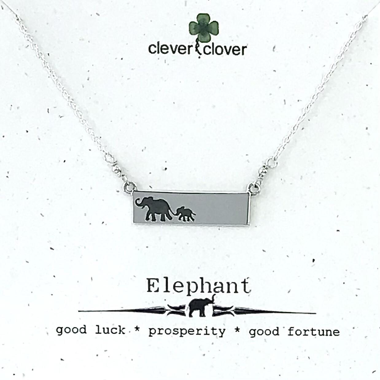Mama + Baby Elephant Bar Necklace - FEST1874