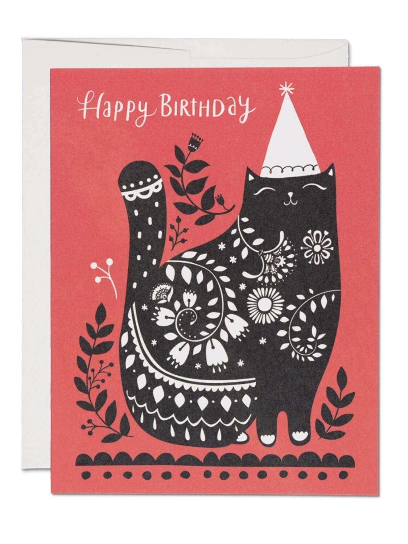 Black Cat Birthday Greeting Card - RC31