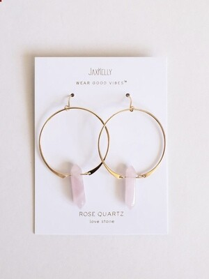 Rose Quartz Gemstone Point Hoop Earrings - 18kt Gold Over Silver - JK37