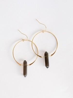 Smoky Quartz Gemstone Point Hoop Earrings - 18kt Gold Over Silver - JK28