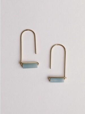 Amazonite Gemstone U Drop Earrings - JK39