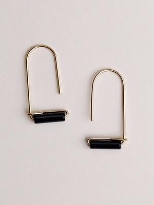 Black Onyx Gemstone U Drop Earrings - JK25