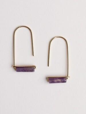 Amethyst Gemstone U Drop Earrings - JK40