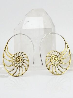 Ammonite Earrings in Brass + Sterling Silver - IBE63