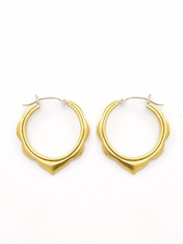 Ananda Hoop Earrings in Brass + Sterling Silver - IBE242