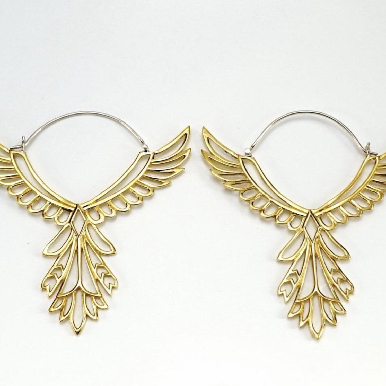 Feather Earrings in Brass + Sterling Silver - IBE150