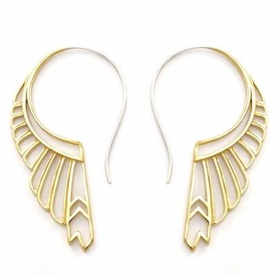 Large Huntress Earrings in Brass + Sterling Silver - IBE246