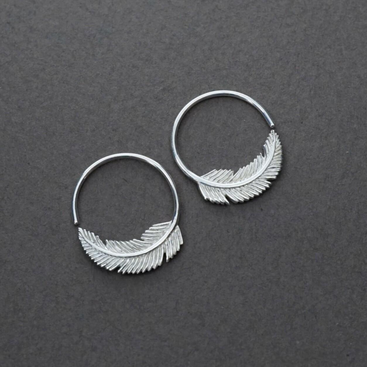 Little Feather Sterling Silver Sleeper Hoops - IBE264