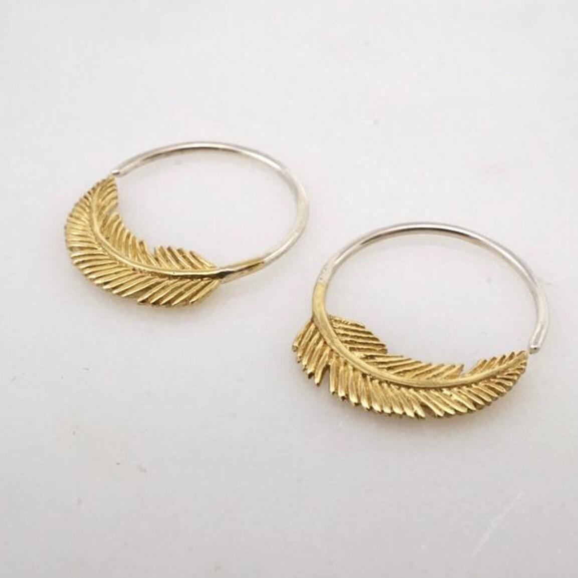 Little Feather Sleeper Hoops in Brass + Sterling Silver - IBE264