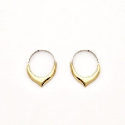 Little Petal Hoop Sleeper Earrings in Brass + Sterling Silver - IBE240
