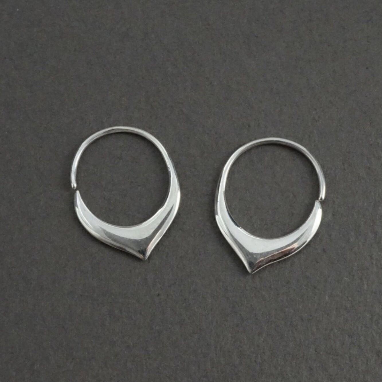 Little Petal Sleeper Hoops in Sterling Silver - IBE240