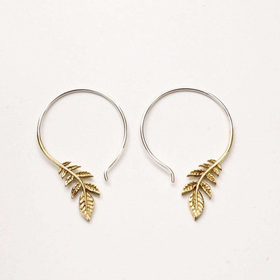 Olive Leaf Hoop Earrings in Brass + Sterling Silver - IBE136