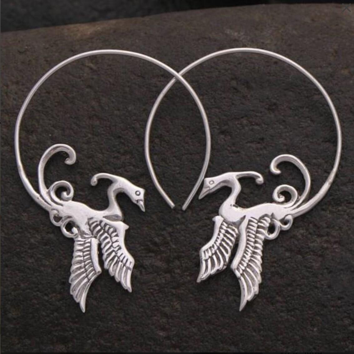 Phoenix Hoops in Sterling Silver - IBE52