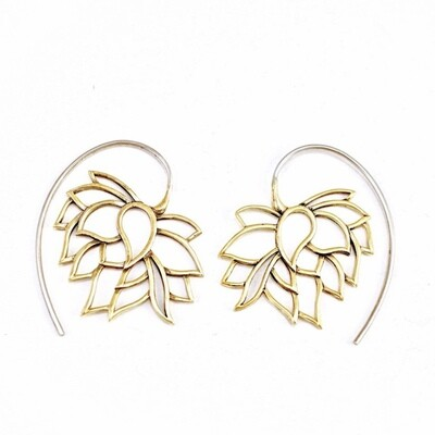 Sleeping Lotus Earrings in Brass + Sterling Silver - IBE158
